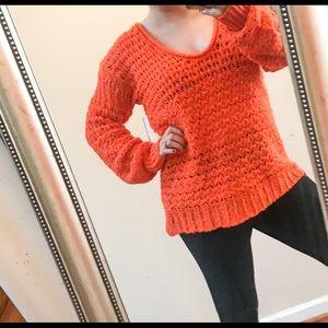 Free People 🔥 NWT Orange Chunky Sweater